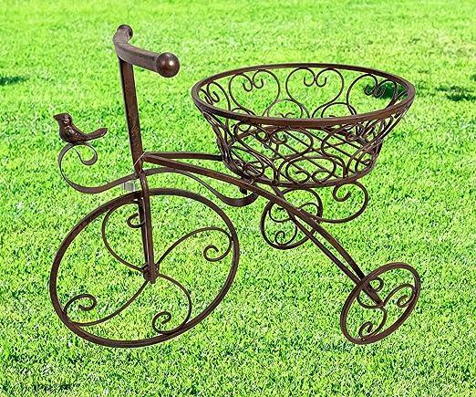 Moritz – Macetero con ruedas para plantas, 47 x 43 x 25, 5 cm, maceta para macetas, decoración de jardín, metal marrón envejecido: Amazon.es: Jardín