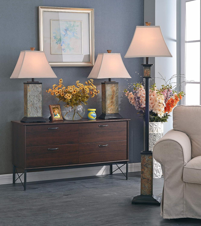Kenroy Home 31204 Bennington Floor Lamp with Natural-Slate Finish 16 x 16 x 62