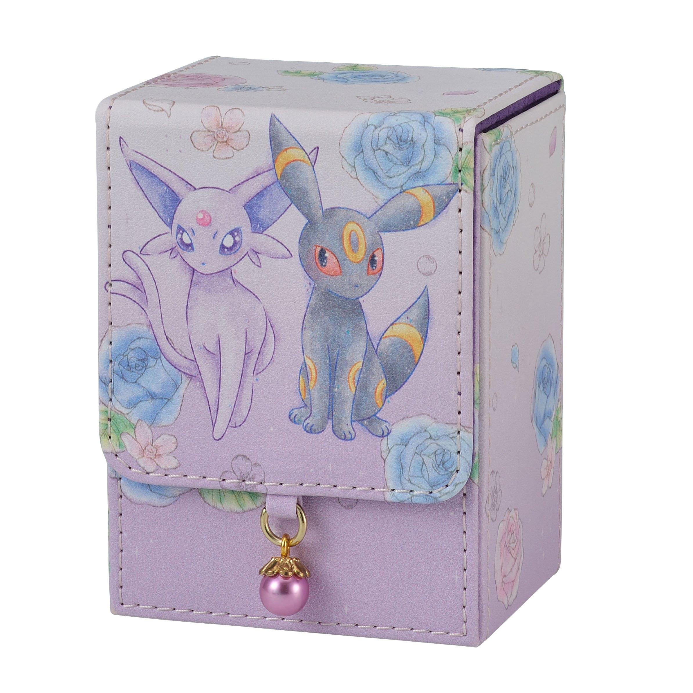 Pokemon Center Original Pokemon Card Game Flip Deck Case Espeon & Umbreon Flower