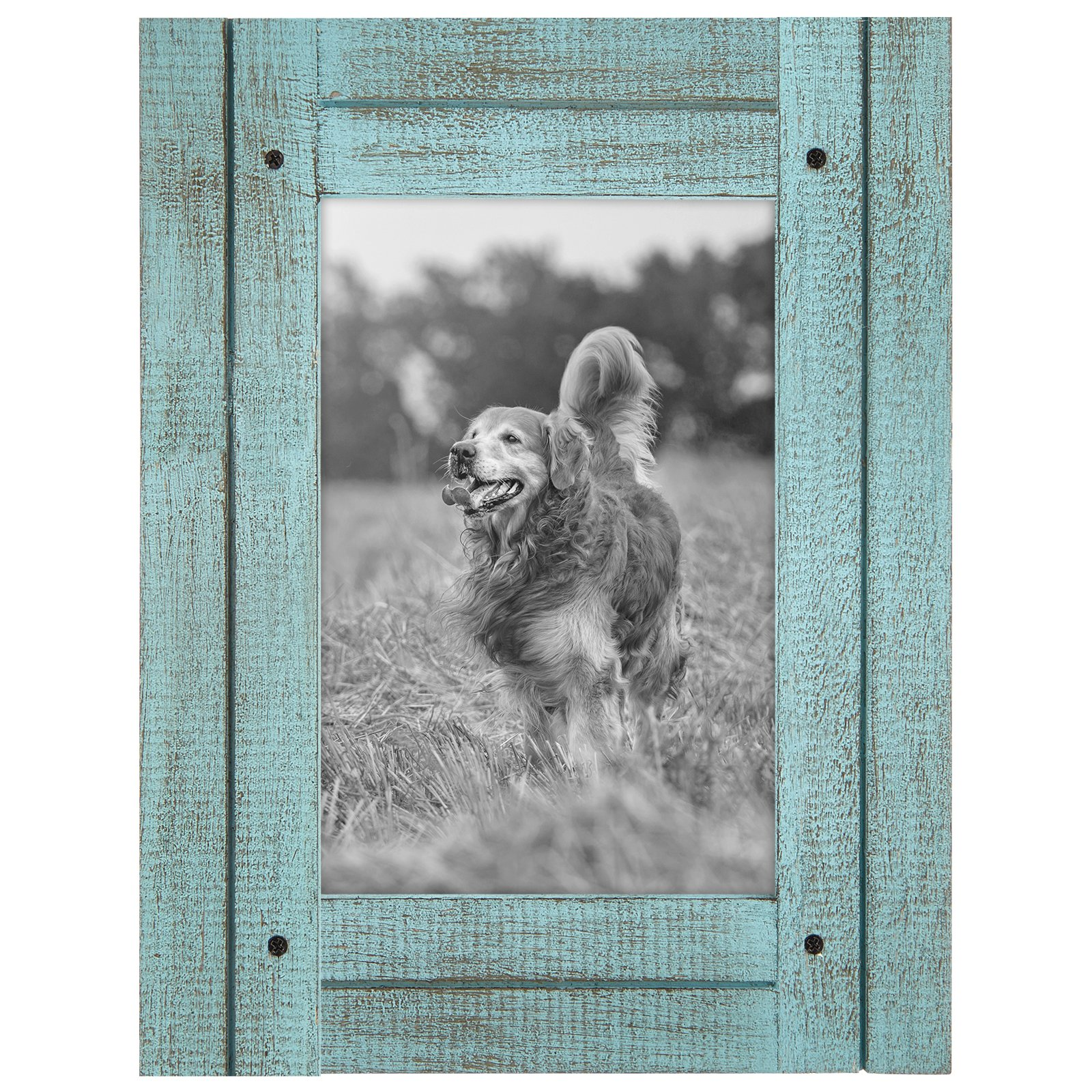 Americanflat 4x6 Turquoise Blue Distressed Wood Frame - Made to Display 4x6 Photos - Ready to Hang - Ready to Stand - Built-in Easel