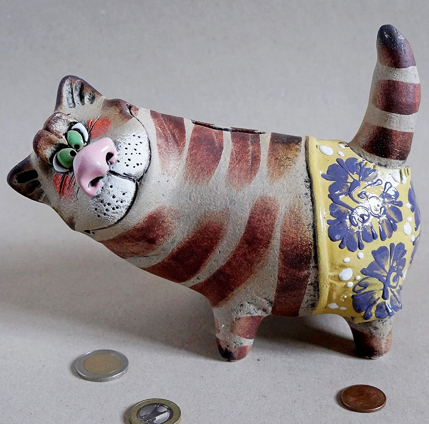 Handmade Piggy Bank Money box Cat ceramic sculpture Coin bank Cat lover gift Pottery animal , Best gift for 10 year old boy girl birthday One of kind