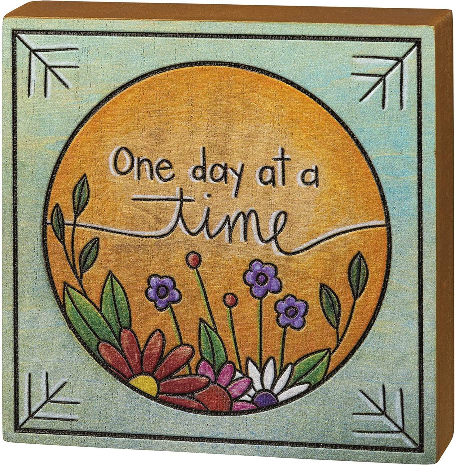 Primitives by Kathy One Day at A Time Block Sign, 4.50