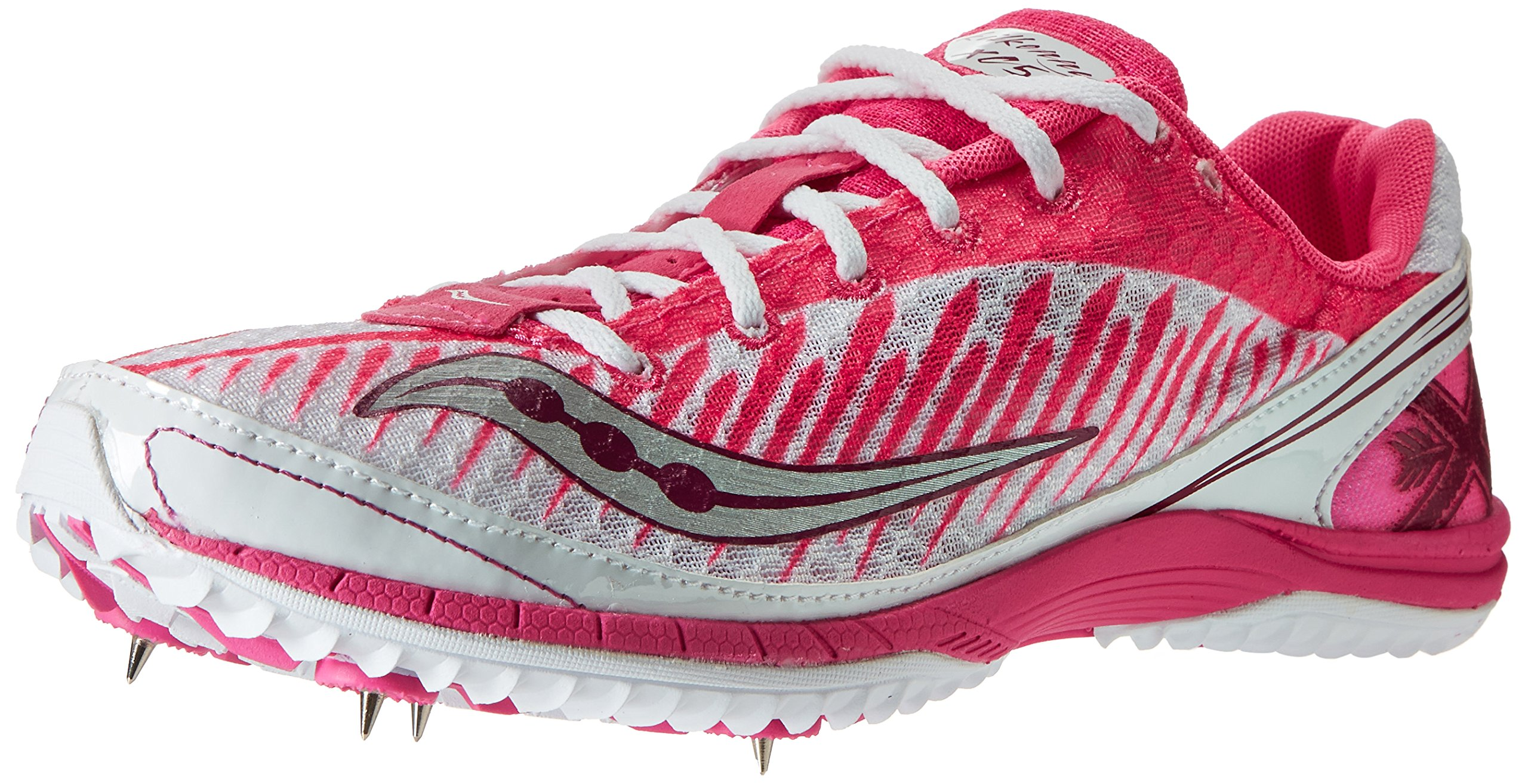 Saucony Women's Kilkenny XC5 Spike Cross Country Spike Shoe,White/Vizi Pink,9 M US