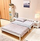 GreenForset Pine Bed 4'6ft Wooden Bed Frame White