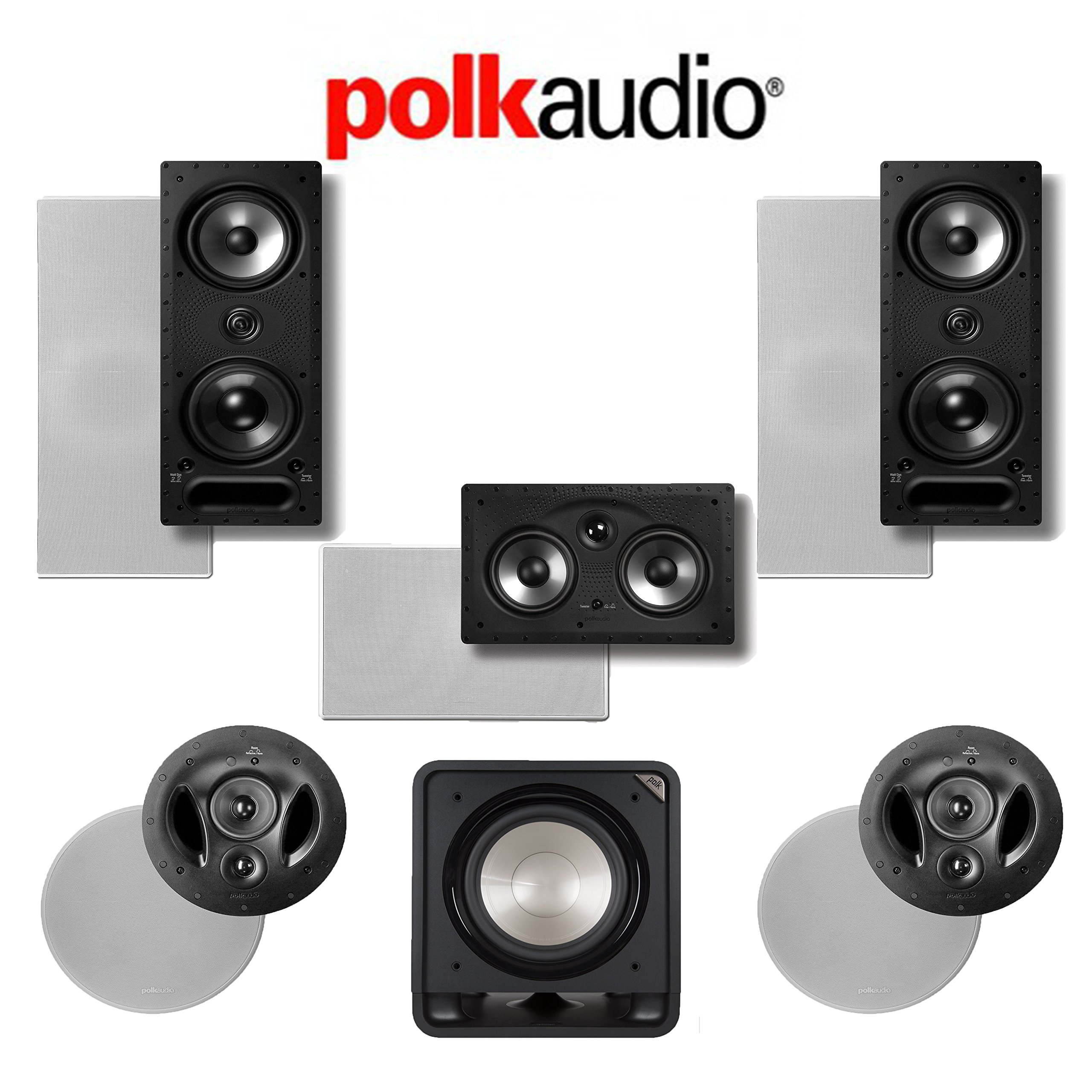 Polk Audio 90-RT Vanishing RT Series 5.1 High Performance In-Wall / In-Ceiling Home Theater Speaker System (90-RT + 265-LS + 255C-RT + HTS12) by Polk Audio