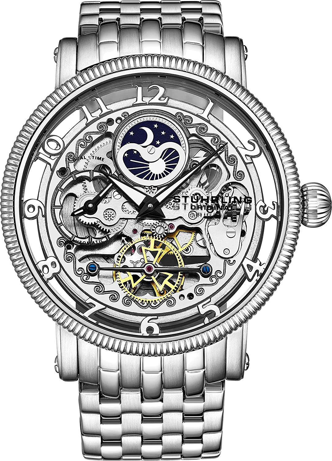 b34671740 Stührling Original Mens Automatic Watch, Skeleton Watch Analog Dial, Silver  Accents, Dual Time, AM/PM Sun Moon, Stainless Steel Bracelet, 3922 Watches  for ...