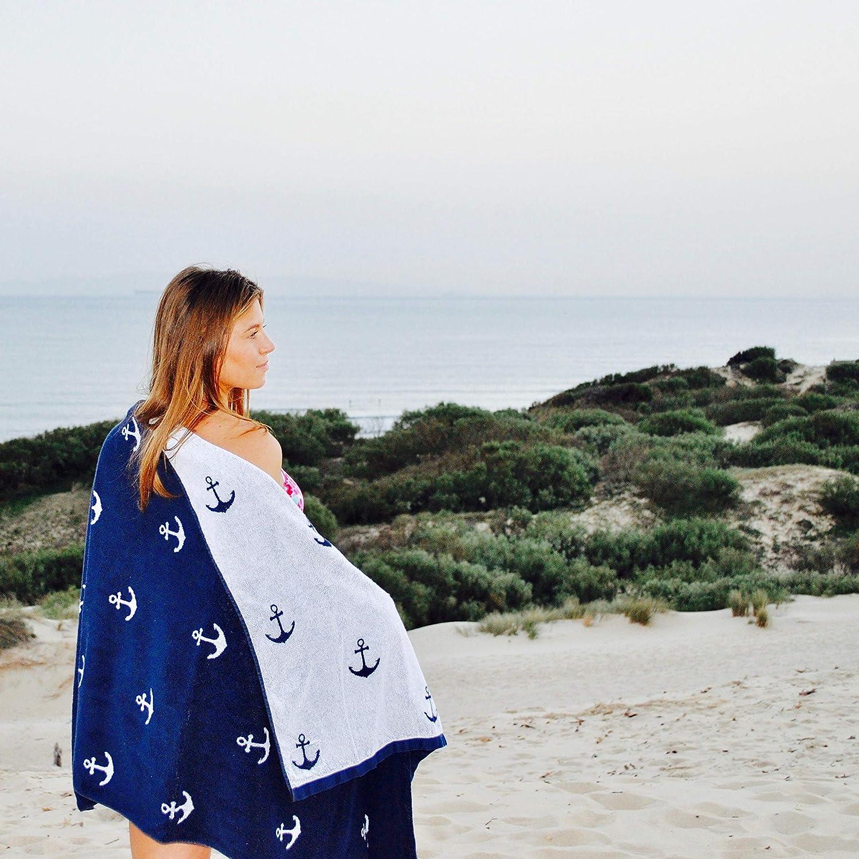 color azul marino dise/ño de ancla Toalla de playa algod/ón, 160 x 90 cm Atlantic Shore Surf Fashion