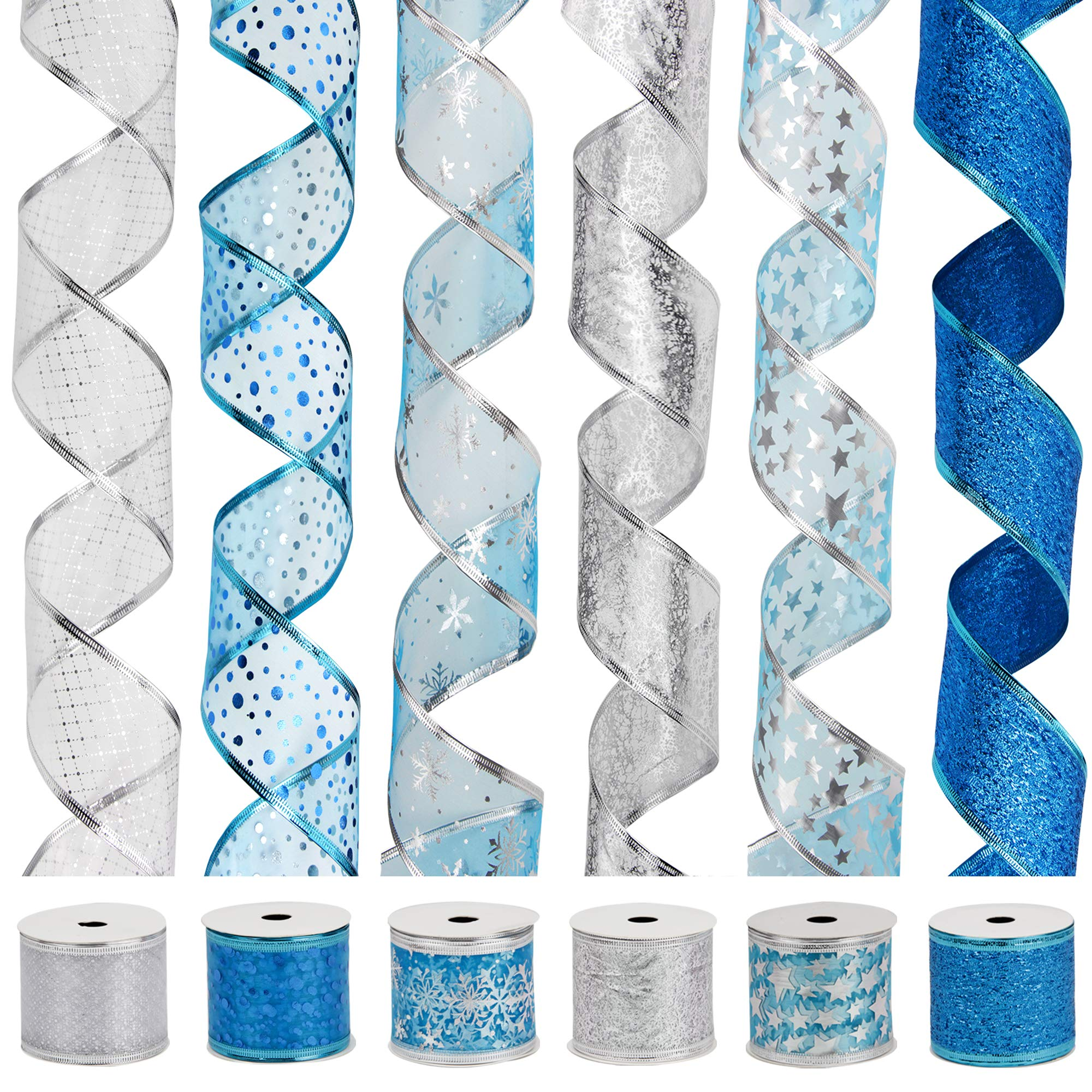 - Classical Swirl Sheer Glitter Ribbon 36 Yards 2.5 Width x 6Yard Each Roll VATIN Christmas Ribbon,Wired Holiday Party Ribbons Assorted Plaid Dot Holly Patterns Decorations