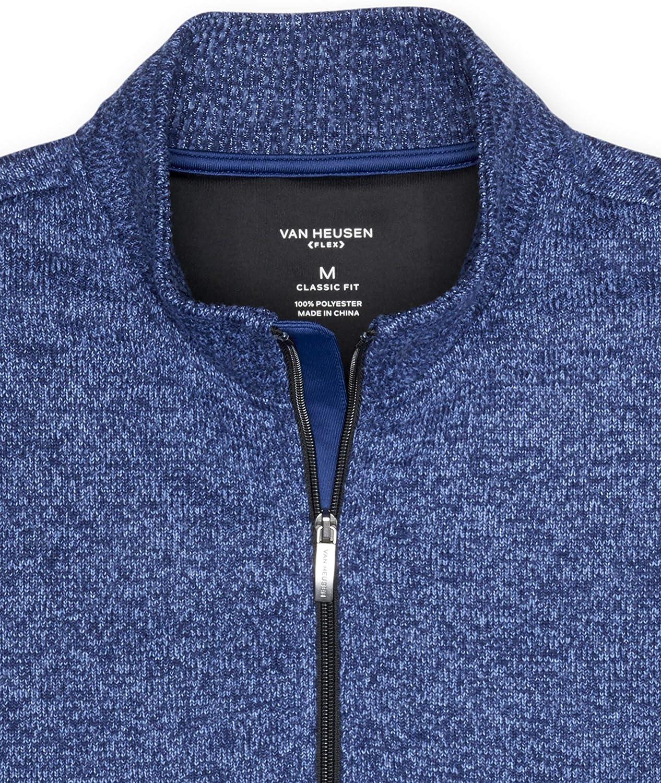 Van Heusen mens Flex Long Sleeve 1//4 Zip Soft Sweater Fleece Pullover Sweater