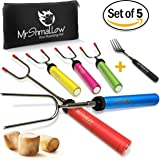 Campfire Marshmallow Roasting Sticks   Set of 5 Smores Skewers & Hot Dog Forks   Stainless Steel 34'' Rotating & Telescoping Backyard Fire Pit Cookware   Bonus Travel Bag & Grill Fork & Camping Ebook