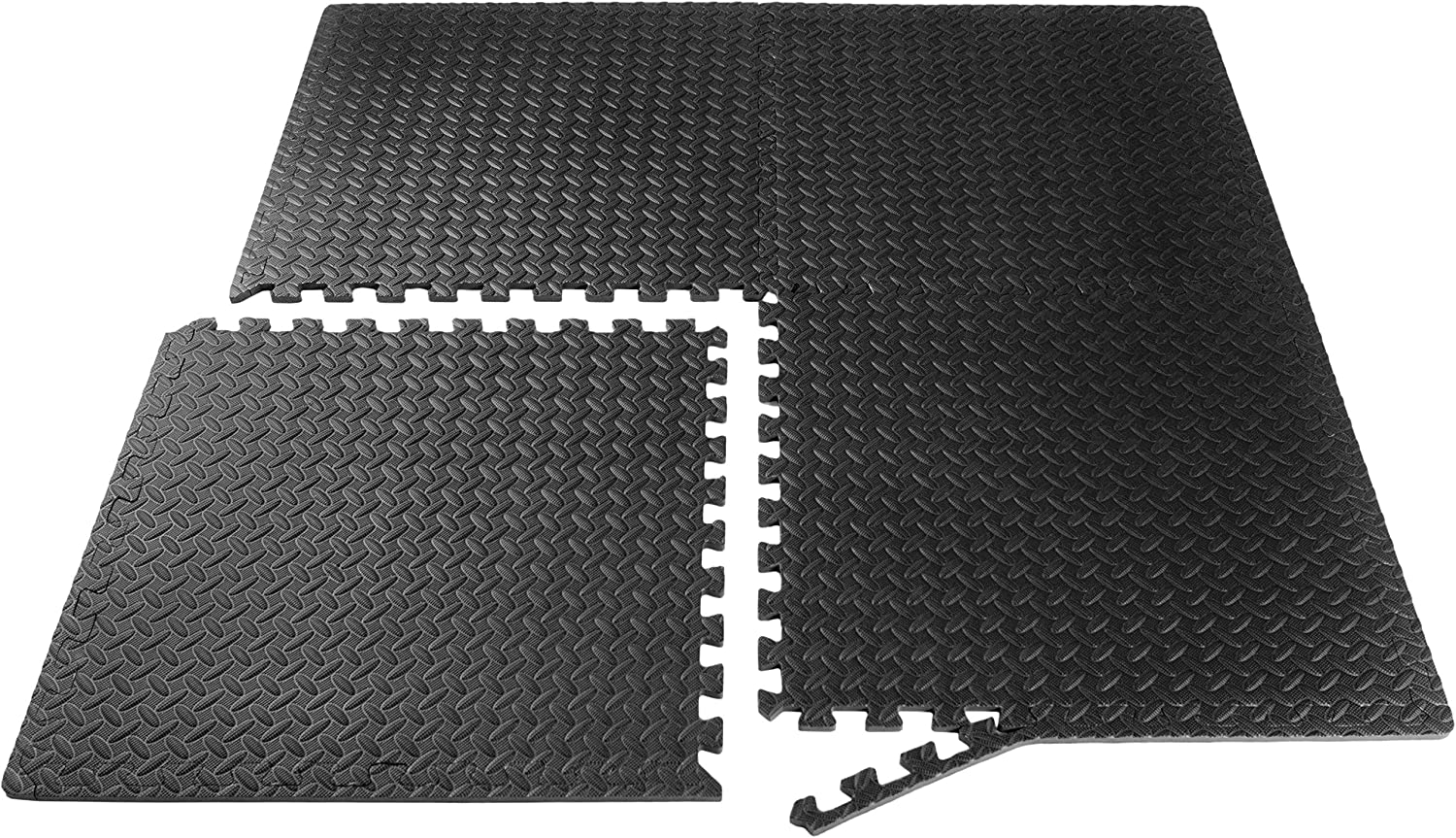 ProSource fs-1908-pzzl Puzzle Exercise Mat EVA Foam Interlocking Tiles (Black, 24 Square Feet) : Sports & Outdoors
