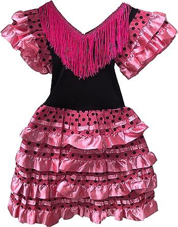 Vestido Flamenco Disfraz Sevillanas Rosa Rojo Topos (Rosa, 4-5 ...