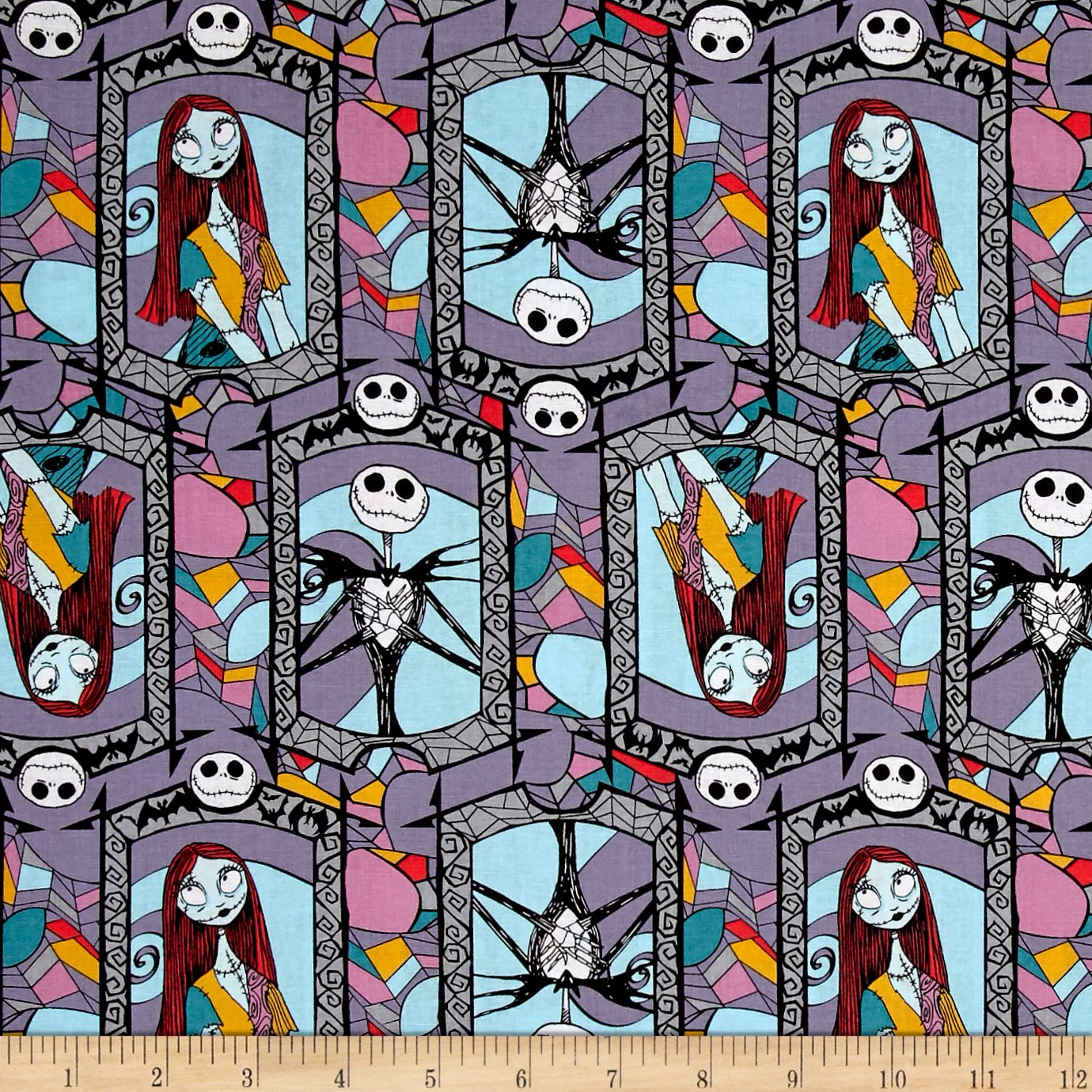 Springs Creative Products Disney Nightmare Before Christmas Sally and Jack Stained Glass Multi Fabric by The Yard E. E. Schenck