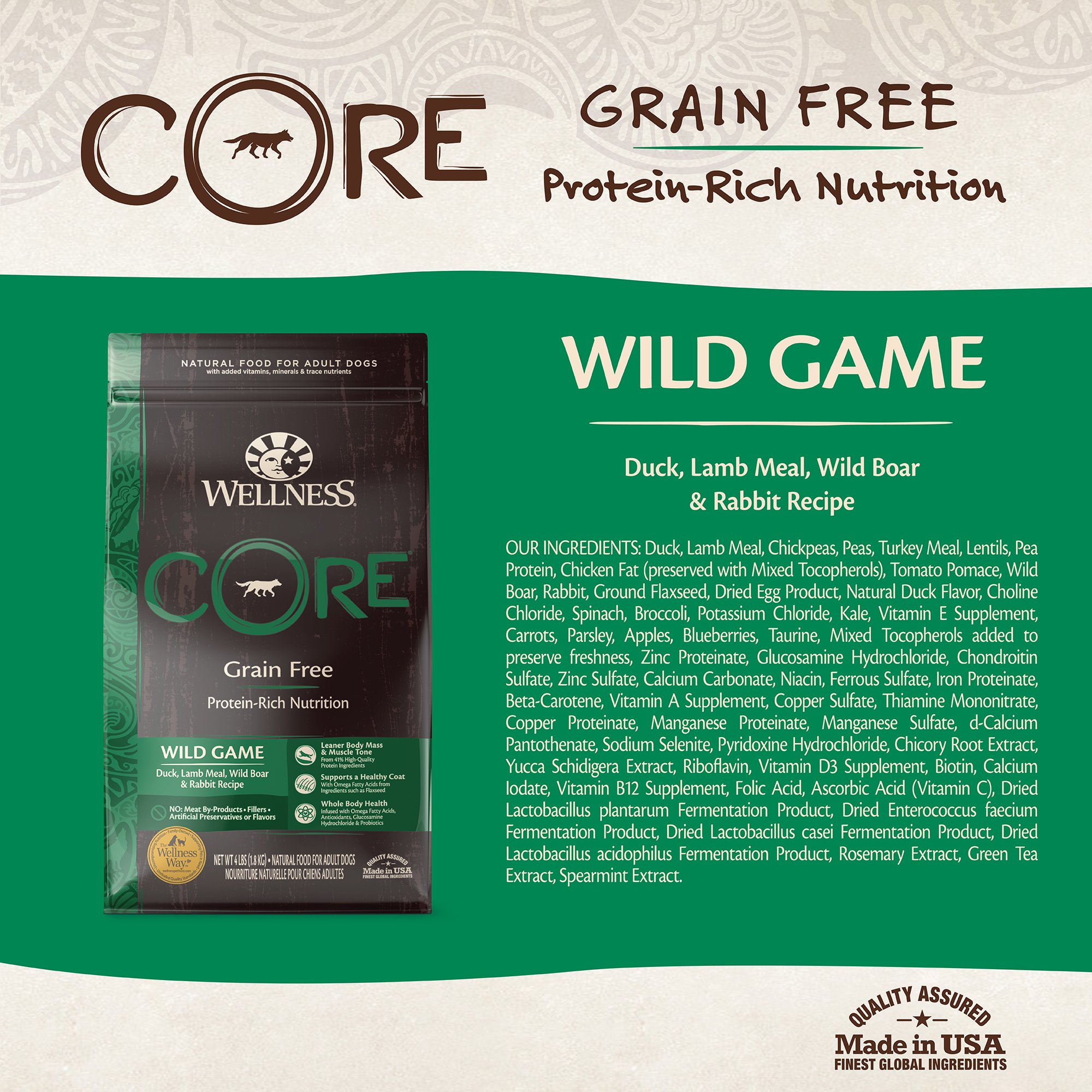 Wellness CORE Natural Grain Free Dry Dog Food, Wild Game Duck, Turkey, Boar & Rabbit, 26-Pound Bag by WELLNESS CORE (Image #3)