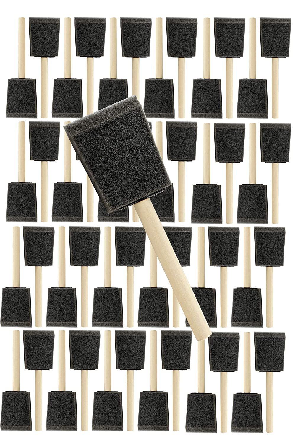 Pro Grade 2 Inch Foam Sponge Wood Handle Paint Brush Set (48 Value Pack) Lightweight, Durable and Used for Acrylics, Stains, Varnishes, Crafts, Art, Glue Brushes, Touch UP's, Polyurethane Touch UP' s Pro-Grade Supplies