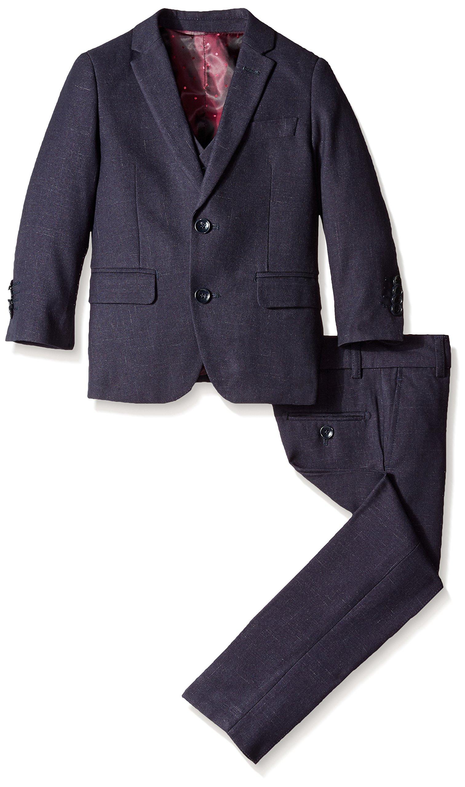Isaac Mizrahi Little Boys' 3 Piece Raindrop Suit, Navy, 3