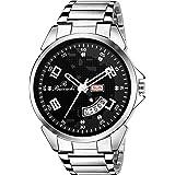 Buccachi Analog Black Dial Day & Date Silver Colour Strap Wrist Watch for Men's (B-G5039-BK-CH)