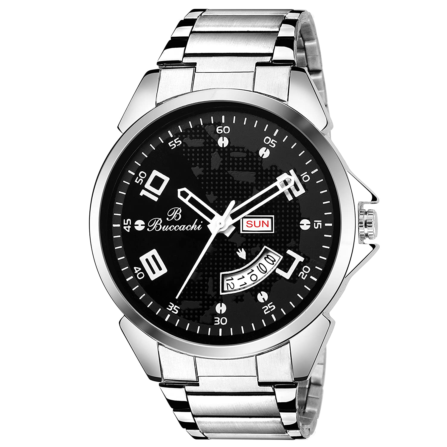 Buccachi Analog Black Dial Day & Date Silver Colour Strap