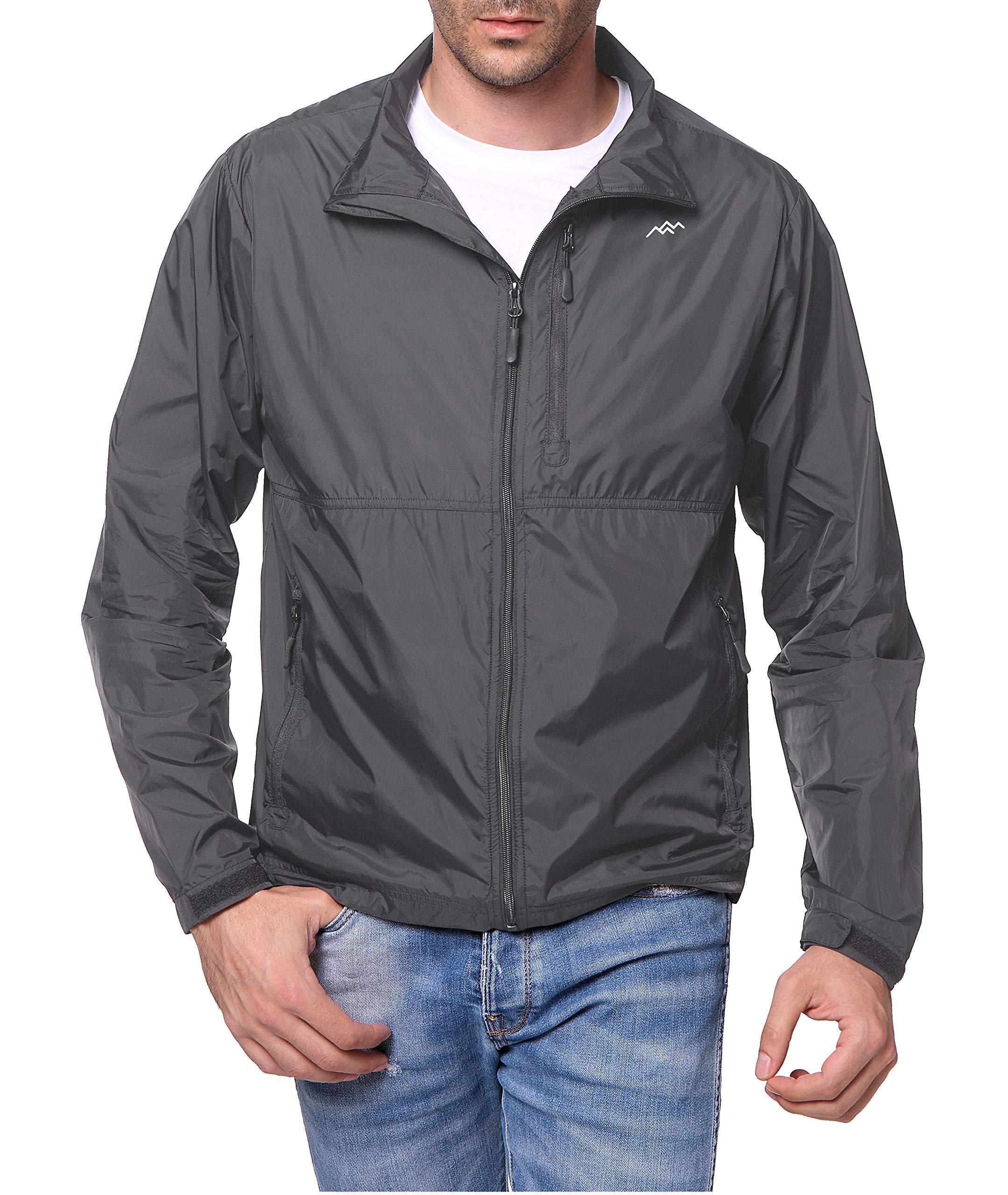 Trailside Supply Co. Men's Standard Water-Resistant Nylon Windbreaker Front-Zip up Jacket,Dark Grey,XL by Trailside Supply Co.