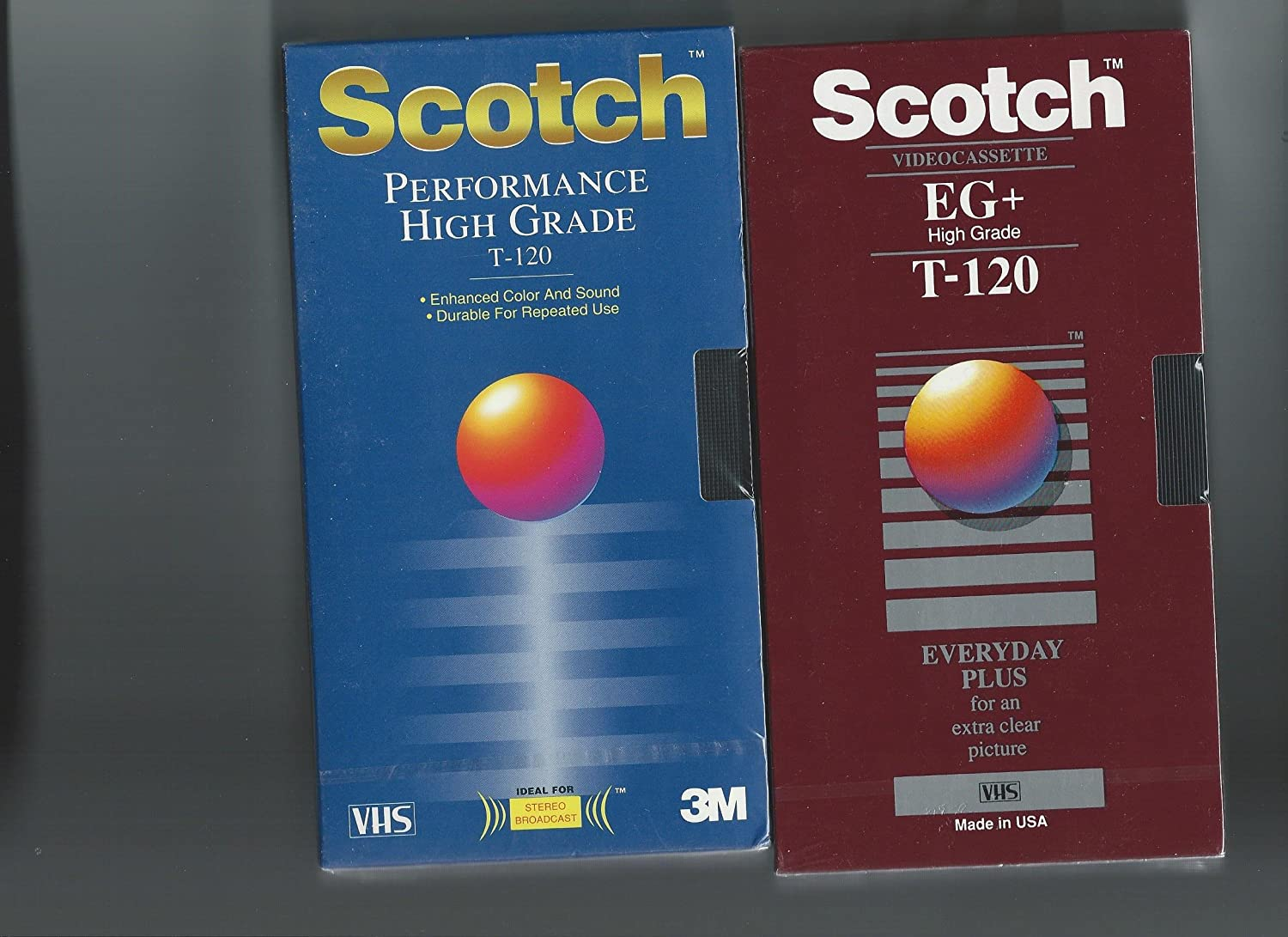 Scotch Performance High Grade T-120 Blank VHS Tapes 3 Pack