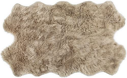 Nouvelle Legende Faux Fur Sheepskin Premium Rug Quattro 43 in. X 73 in. Tan