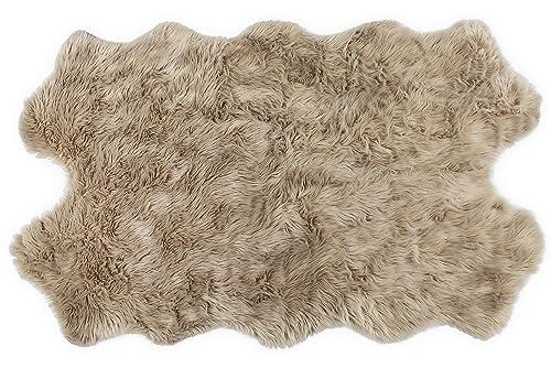 Nouvelle Legende Faux Fur Sheepskin Premium Rug Quattro 43 in. X 73 in. Tan