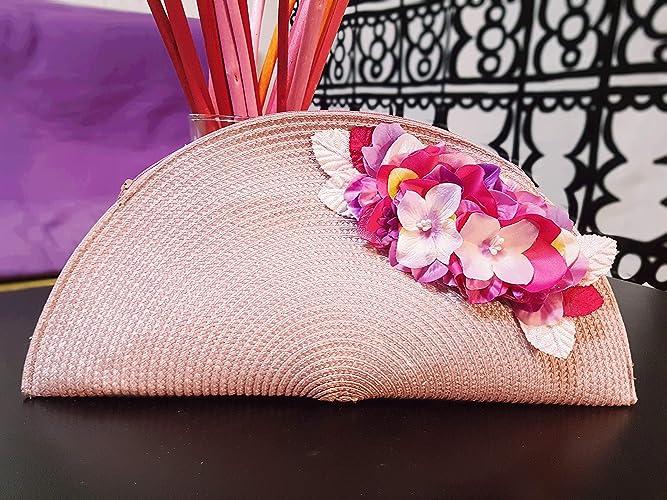 bd491b7c3 Bolso abanico mujer rosa nude con cremallera con detalle de flores  accesorio para bodas invitadas evento