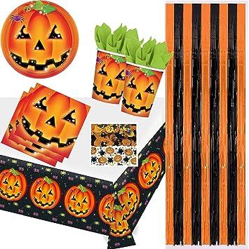 66 Teiliges Partyset Perfect Pumpkin Halloween Mit Teller