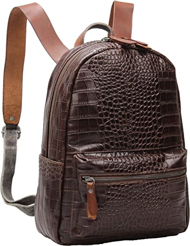 New Women Genuine Real Cow Leather Backpack Travel Bag Embossed Handbag Silver S