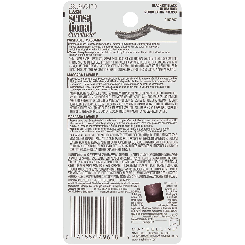 e8471540ac1 Amazon.com: Maybelline New York Lash Sensational Curvitude Washable Mascara,  Blackest Black, 0.33 fl. oz.: Beauty