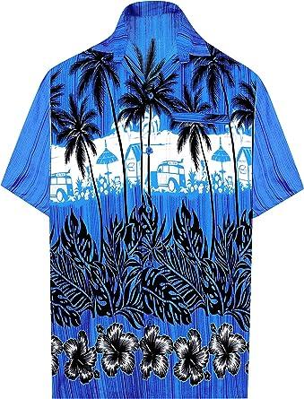 LA LEELA Casual Hawaiana Camisa para Hombre Señores Manga Corta Bolsillo Delantero Surf Palmeras Caballeros Playa Aloha XXL-(in cms):137-149 Azul_W382: Amazon.es: Ropa y accesorios