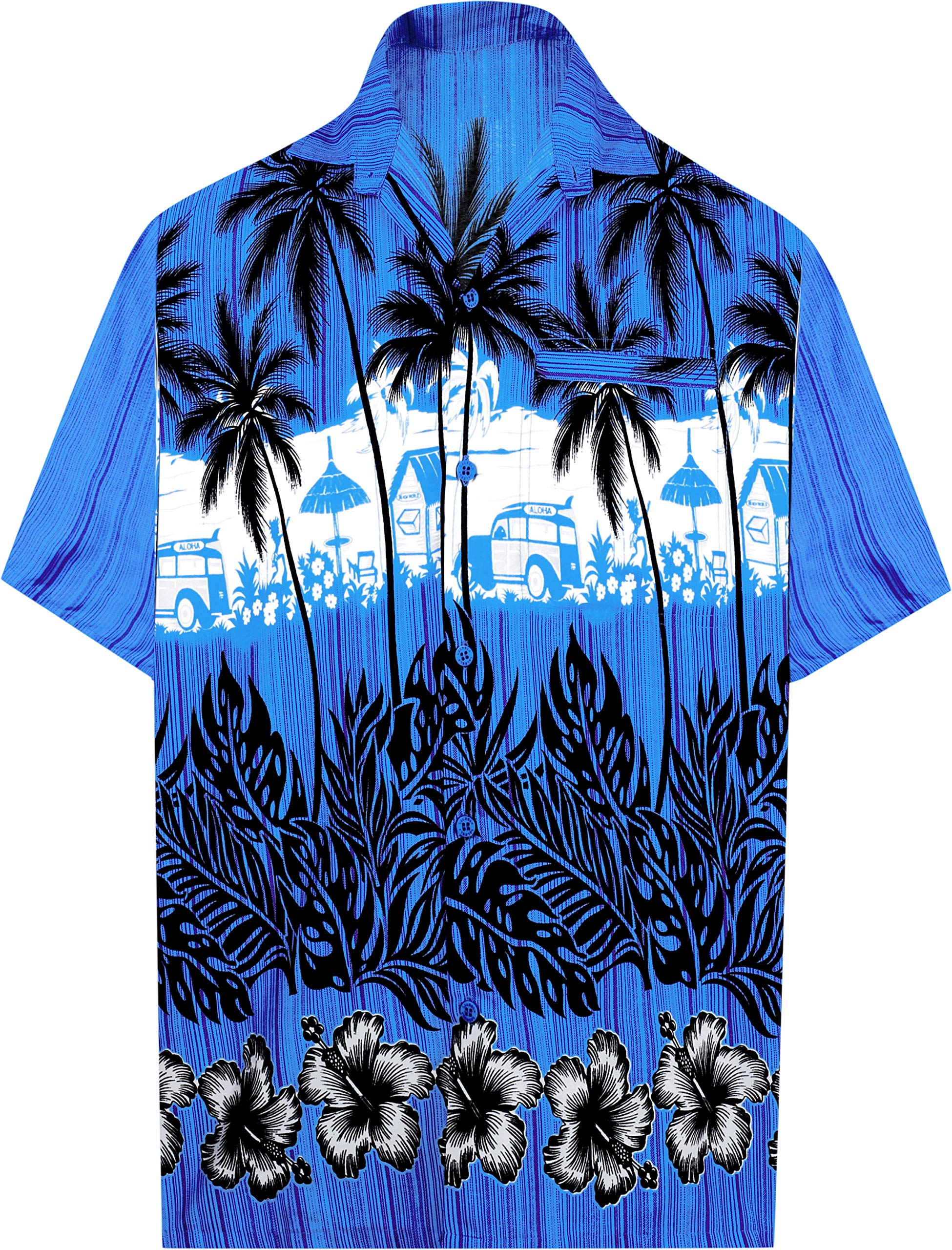 33149031 LA LEELA Hawaiian Shirt for Men Short Sleeve Front-Pocket Beach Palm Tree  Blue product