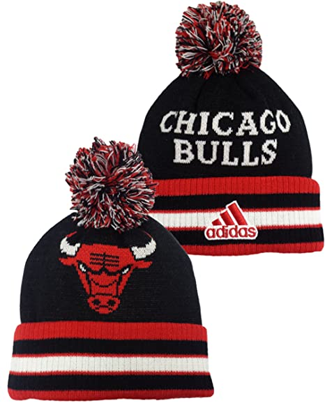 b16009cd9754aa Image Unavailable. Image not available for. Color: Youth Chicago Bulls Head  Logo Cuffed Knit Pom Hat Adidas NBA Officially Licensed Beanie