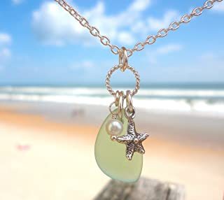 """product image for Sterling Silver SEA GLASS Charm Necklace - Light Green Cultured Sea Glass - Sterling Silver 18"""" chain - With Pearl and Starfish Charms -Nautical Beach Jewelry - Sea Foam Green Beach Glass Necklace"""