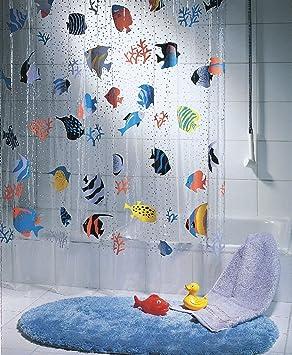 QUALITY Transparent Fish Clear Plastic Shower Curtain, 180 X 200 Cm, Blue/  Orange