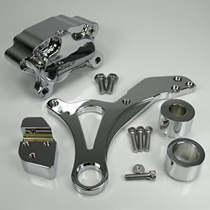 Chrome Ultima REAR Brake Caliper Mount for 2000-Later Harley Dyna Models -  Comes with a Chrome 4-Piston Caliper - Chopper Bobber Cafe Racer
