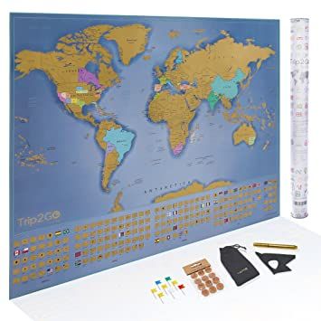 Amazon trip2go scratch off world map poster deluxe edition trip2go scratch off world map poster deluxe edition large scratch off map of the world gumiabroncs Choice Image