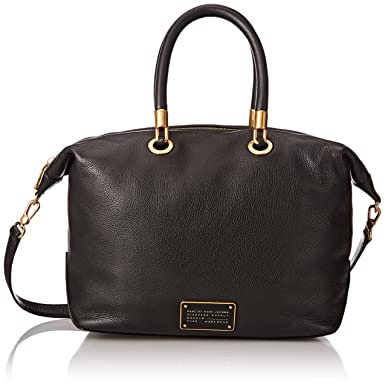 ae49cf59a774d Amazon.com: Marc by Marc Jacobs New Too Hot To Handle Top Zip Satchel Bag,  Black, One Size: Clothing