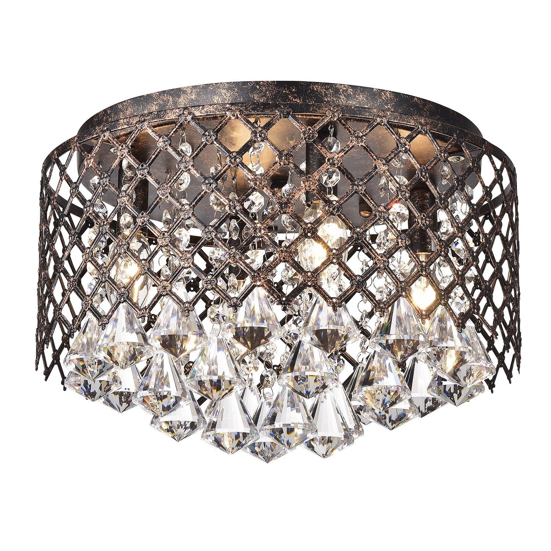 4-Light Antique Copper Lattice Crystal Flushmount Chandelier