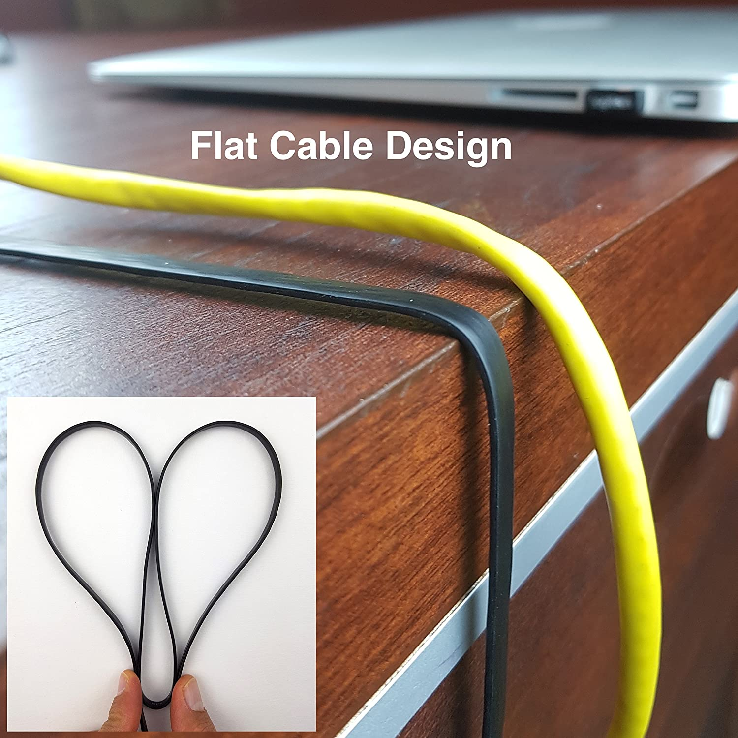 CAT 6 ETHERNET CABLE Cat6 Ethernet Patch Cable with Snagless RJ45 Connectors 50ft Black Flat Internet Network Cables CAT6 Computer LAN Cable at Cat5e Price but Higher Bandwidth
