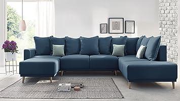 BOBOCHIC MOLA Canapé d\'Angle Gauche Panoramique Convertible XXL 7 places +  Coussins Bleu Marine 324x90x215/164/94 cm