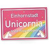 Einhornstadt Unicornia - Einhorn Schild - Stadtschild (30 x 20 cm), Geschenk - süße Deko, Wanddeko, Türschild für Mädels-Wohnung und Mädchen-Zimmer, Geschenkidee Geburtstagsgeschenk beste Freundin