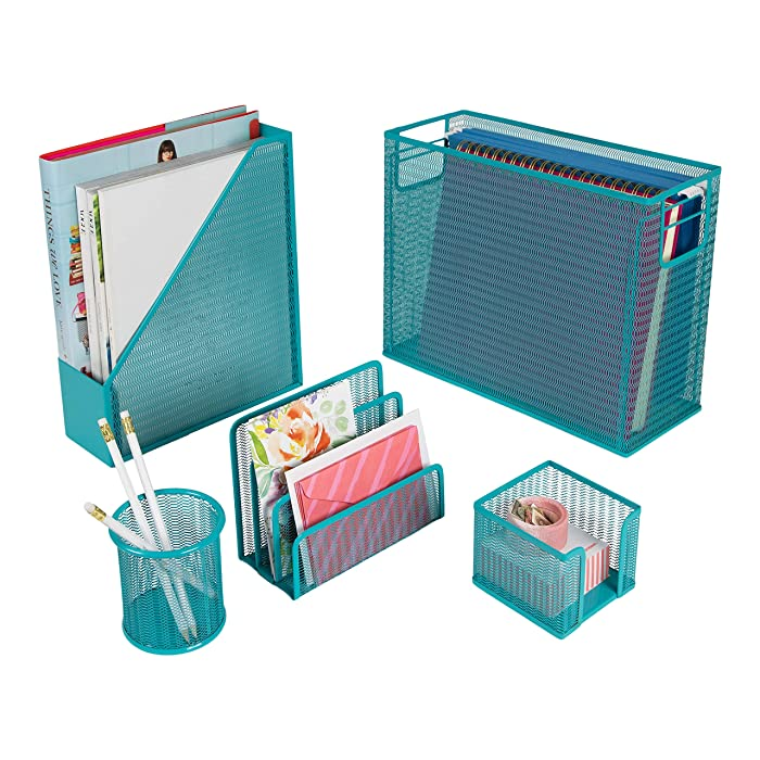 Blu Monaco 5 Piece Cute Office Supplies Teal Desk Organizer Set - with Desktop Hanging File Organizer, Magazine Holder, Pen Cup, Sticky Note Holder, Letter Sorter - Teal Desk Accessories
