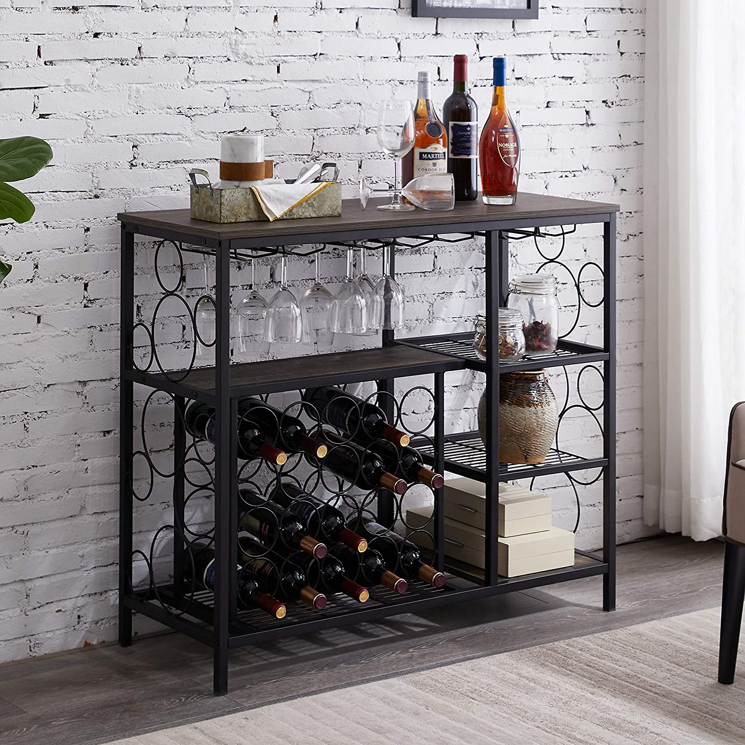 """Hombazaar Industrial Wine Rack Table with Glass Holder, Metal and Wood Wine Bar Cabinet with 20 Bottles Wine Storage, Console Table with Wine Rack for Home Kitchen, Gray-Brown Finish, 33.7"""" Tall"""