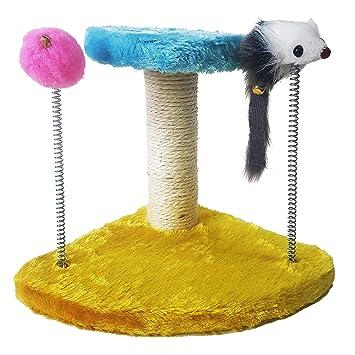 Takestop® tiragraffi tira arañazos Juegos con muelles Muñeco Topo pelota Base Triangular Gimnasio para gato