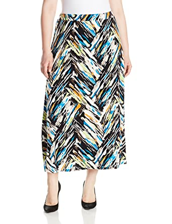 189fa896c15 Kasper Women s Plus Size A Line Chevron Print Ity Maxi Skirt at Amazon  Women s Clothing store