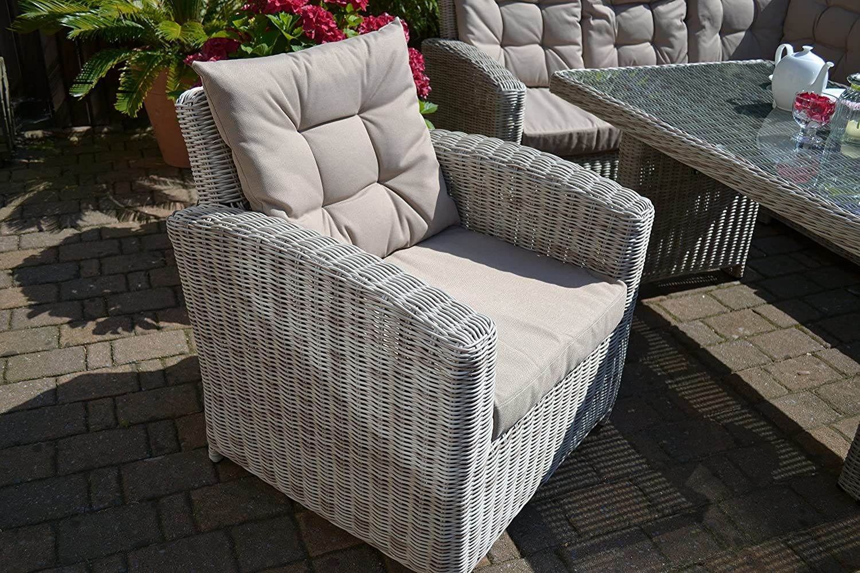 Set lounge ad angolo colore sabbia e grigio naturale per 8 persone divano angolare + tavolo + poltrona + sgabello in polyrattan Bomey Manhattan