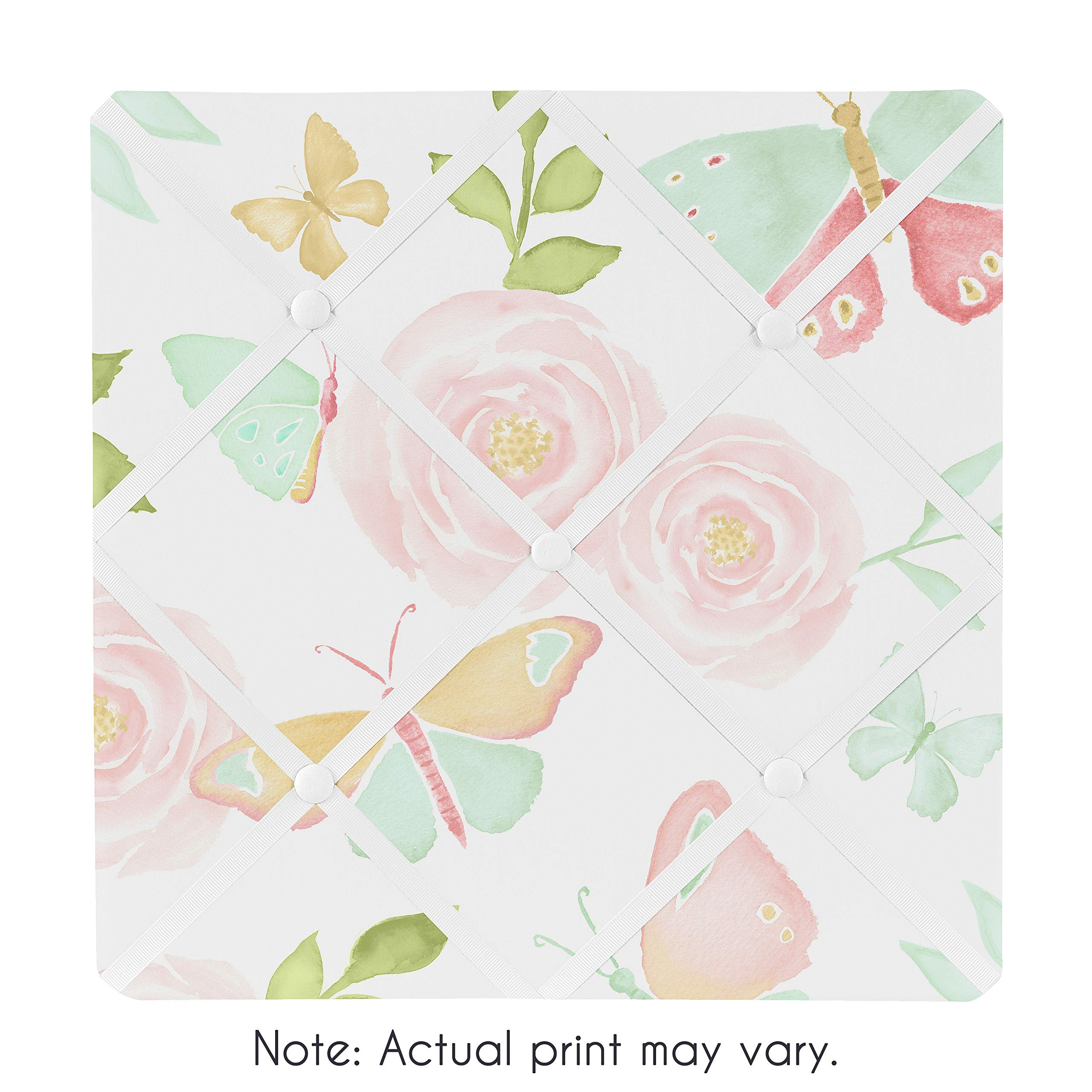 Sweet Jojo Designs Blush Pink, Mint and White Watercolor Rose Fabric Memory Memo Photo Bulletin Board for Butterfly Floral Collection by Sweet Jojo Designs