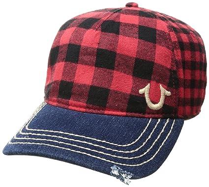 0dbde4441d5 True Religion Men's Buffalo Check Cap, True Red, One Size: Amazon.co ...