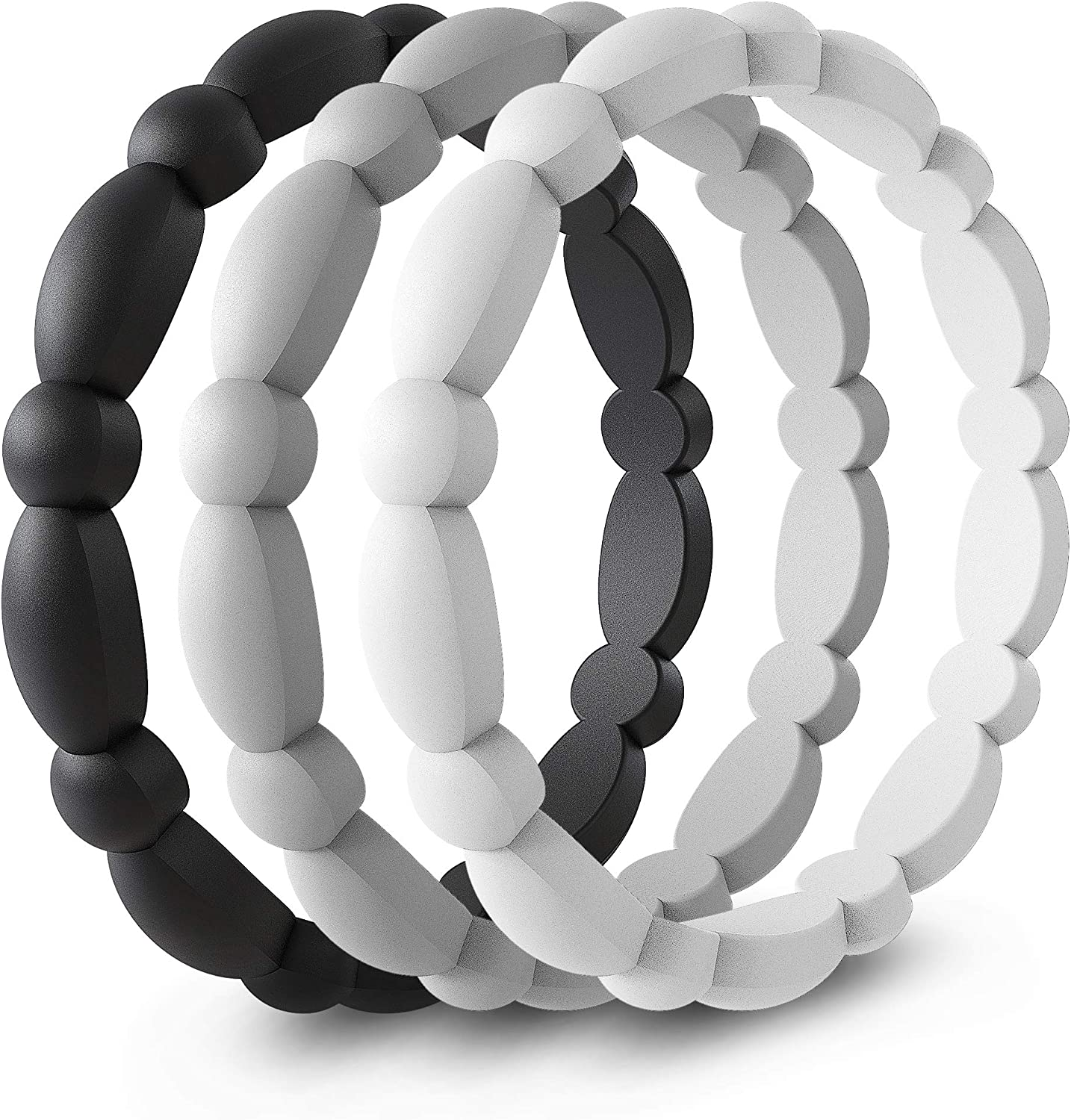 Single Pack Black,White,Silver, 7-7.5 3mm Wide 5 Pack 17.2mm ASTERY Premium Flower Silicone Wedding Ring for Women-Stackable Thin Rubber Wedding Bands-3 Pack